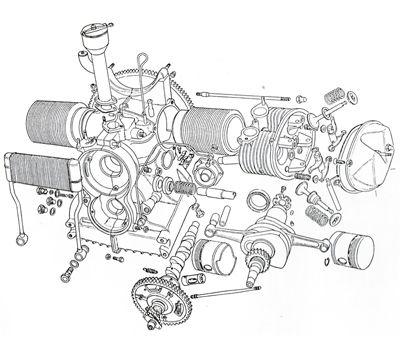 exploded view of a citro u00ebn 2 cv engine