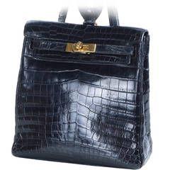 deb20ad1d53d Hermes Shiny Black Nilo Crocodile Kelly Ado Backpack Bag