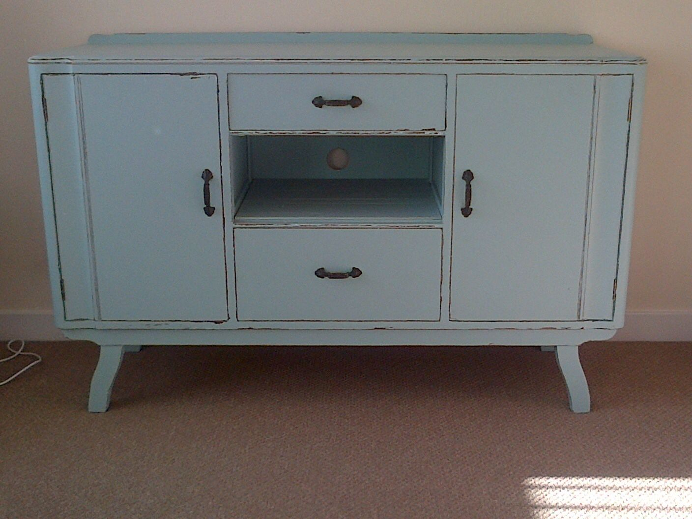 Upcycled Sideboard Duck Egg Blue Now A Tv Unit Sideboard
