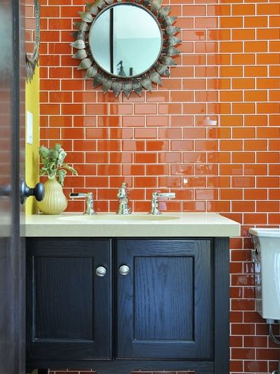 Orange Subway Tile Google Search Orange Bathrooms