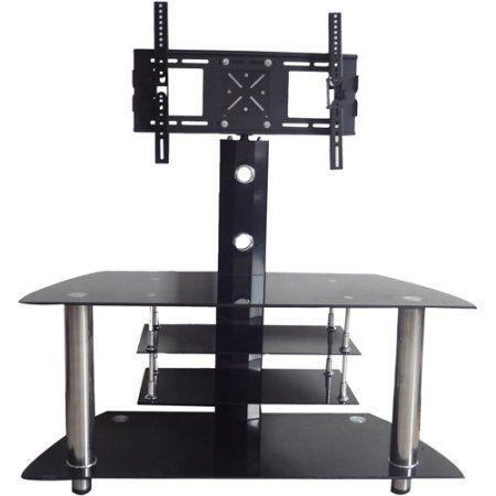Hodedah Black 4 Shelf Glass Tv Stand With Swiveling Mount For Tvs Up