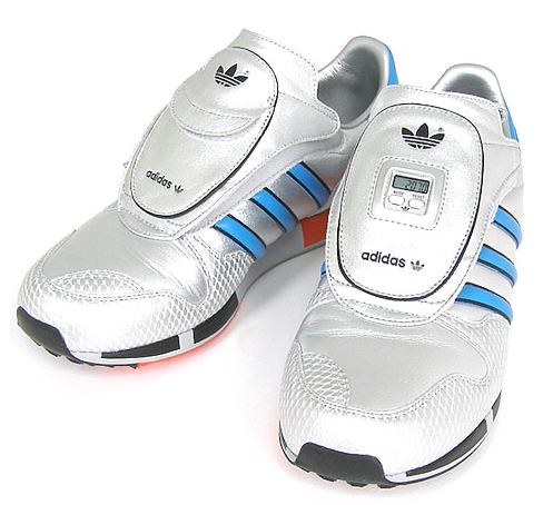 Adidas Micropacer Metallic Reptile    One of the more technical shoes released during the 1980′s, the adidas Micropacer includes a chip atop the shoe's tongue that keeps tabs on the distance you've traveled with relative accuracy: http://vibio.com/product/adidas-micropacer-metallic-reptile