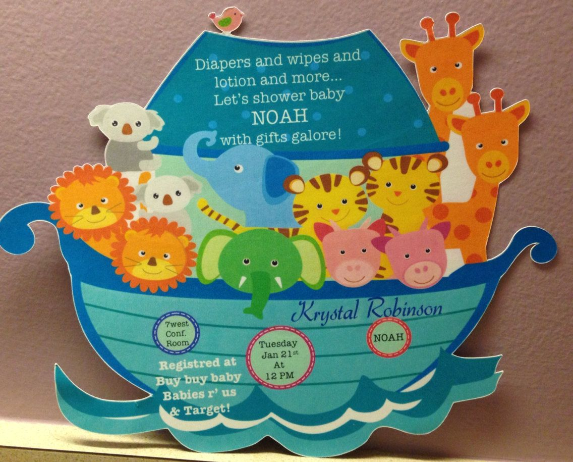 Noah\'s Ark baby shower invitations by CountryCottonDesigns on Etsy ...
