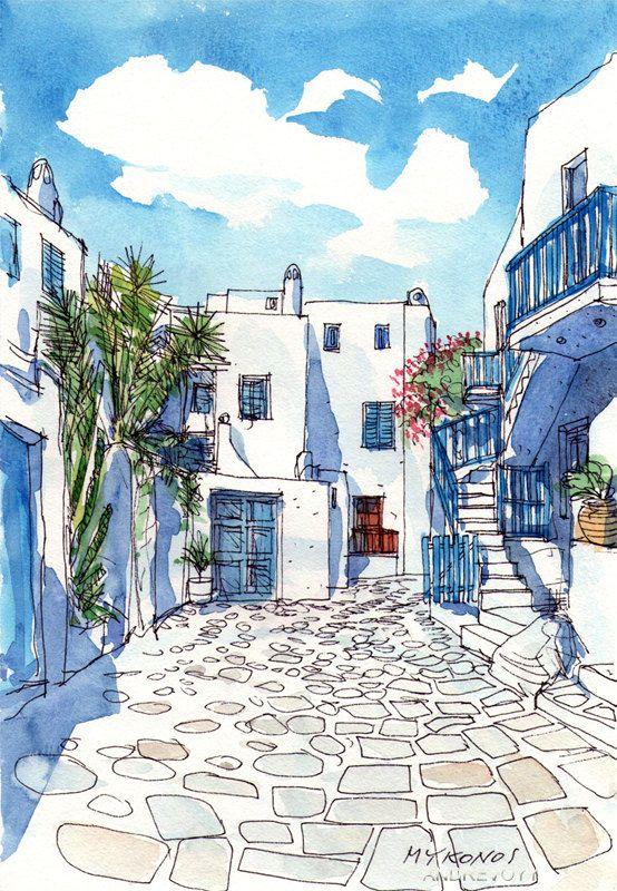 Impression D Une Peinture Aquarelle Originale D Art Square Mykonos