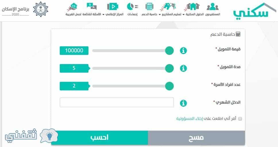 حاسبة الدعم السكني عبر بوابة سكني وزارة الإسكان السعودية الالكترونية Map Bar Chart Chart