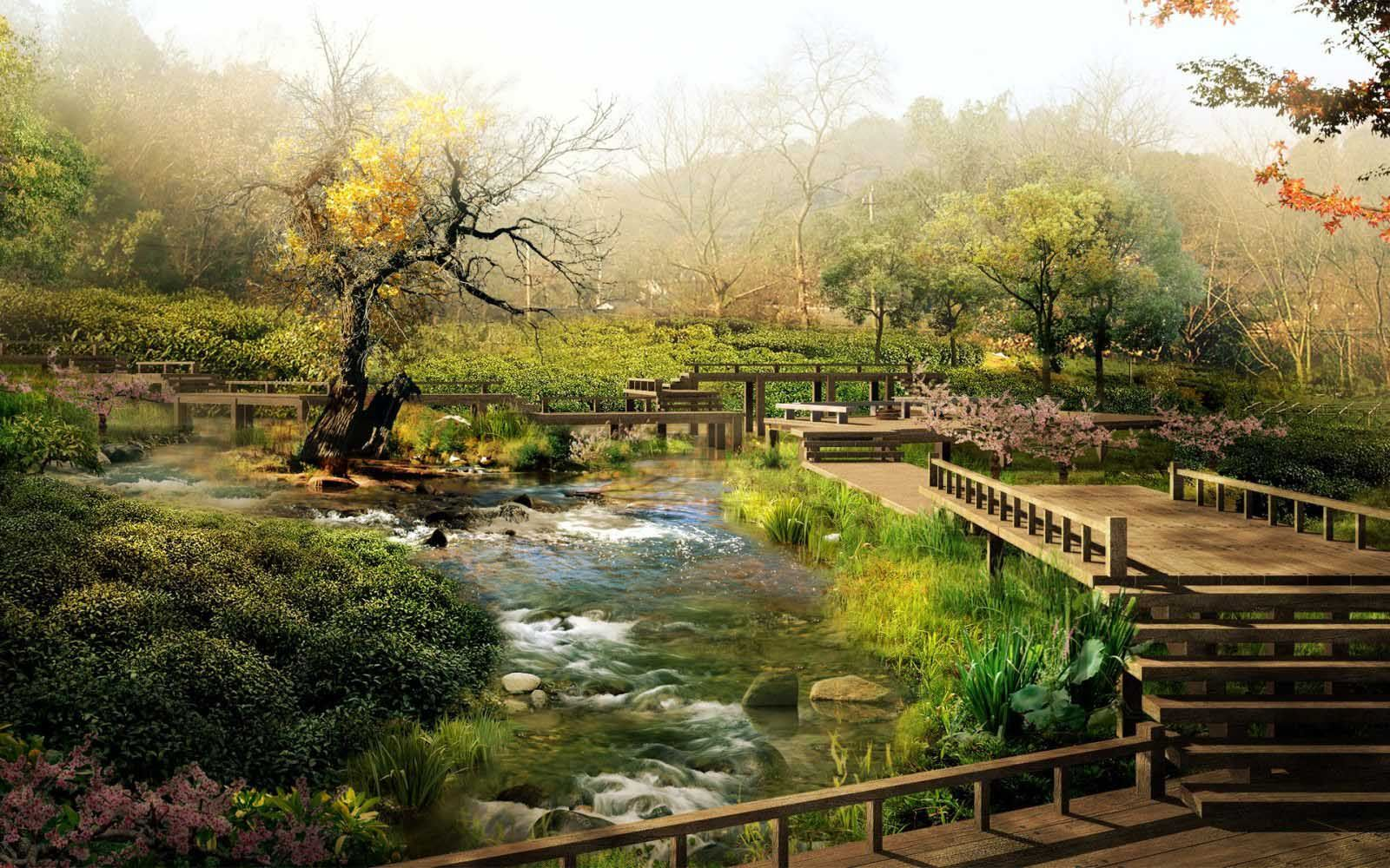 beautiful japanese garden with river background in 2019