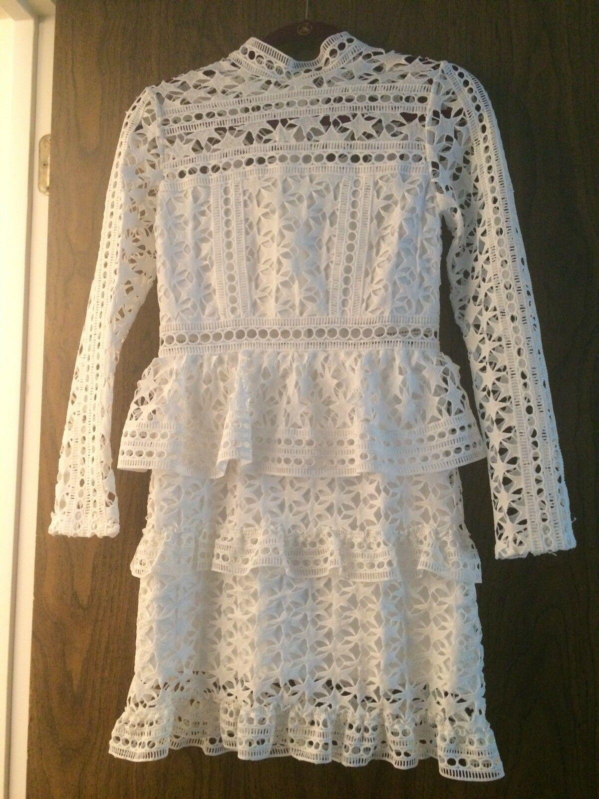 Dazzlin dress size s/m maxi long crotchet lace spring summer