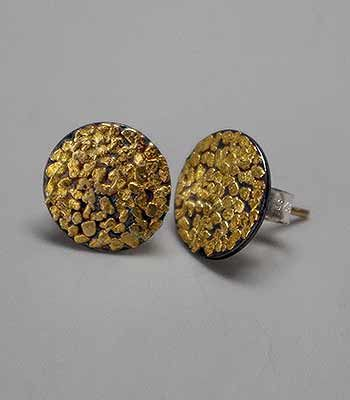 Wolfgang Vaatz Round Stud Earrings With 14k Gold Posts In Ca Placer Fused On Oxidized Argentium Silver 12mm Diameter