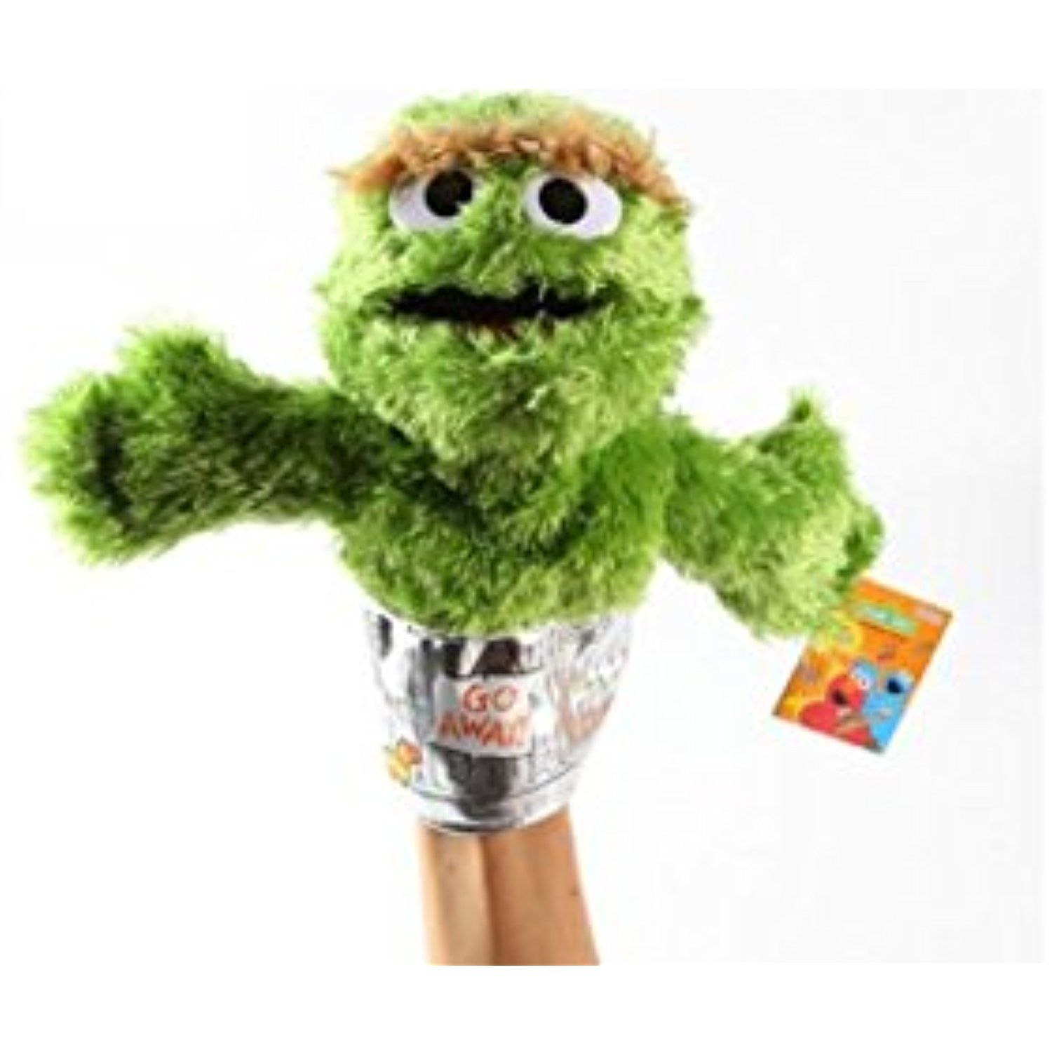 "Sesame Street Oscar Grouch Plush Puppet 9"" ** To view"