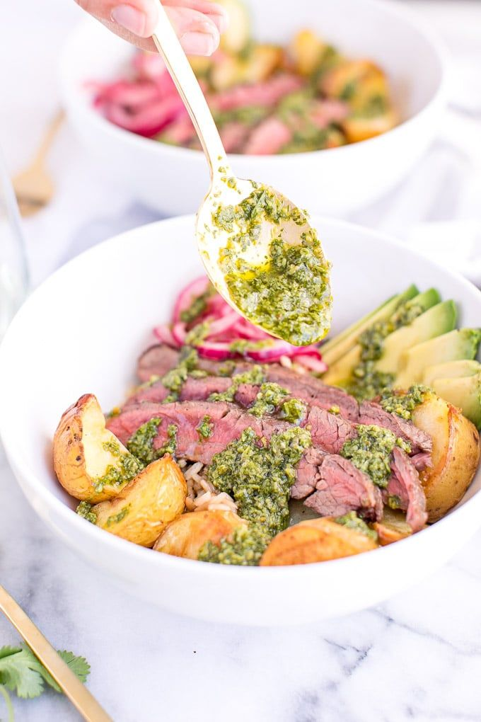 Using a classic argentina chimichurri sauce this recipe for using a classic argentina chimichurri sauce this recipe for chimichurri steak bowls is an easy forumfinder Gallery