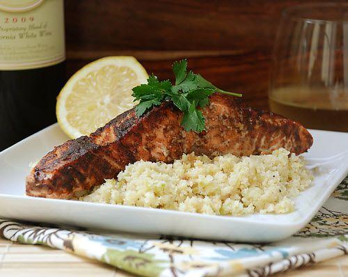 salmon with sweet spicy rub and cauliflower rice