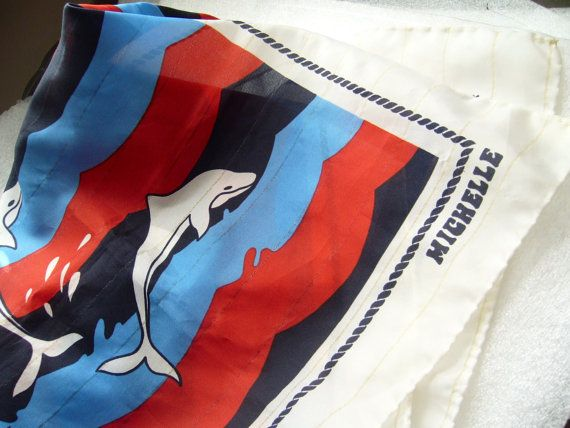 Vintage scarf foulard with dolphins   made in by ThePlasticFever, $12.00