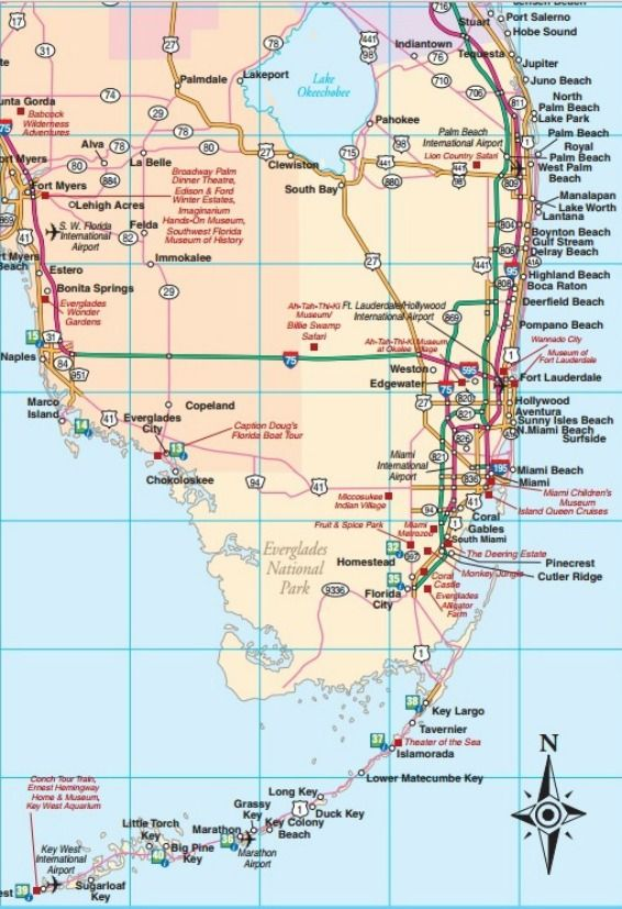 Southeast Florida road map showing main towns, cities and ...