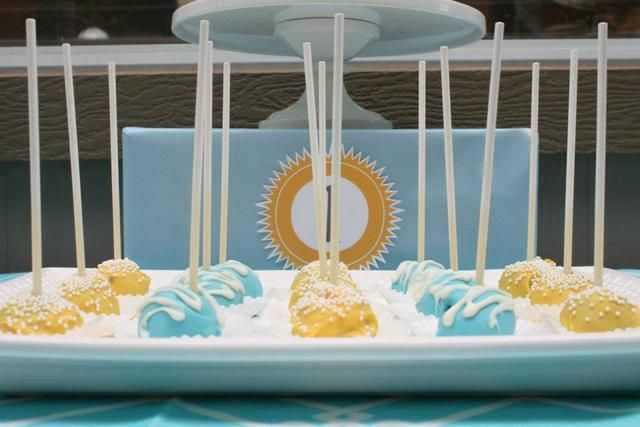 Yellow, baby blue, and grey Sunshin' skies Birthday Party Ideas | Photo 1 of 40 | Catch My Party