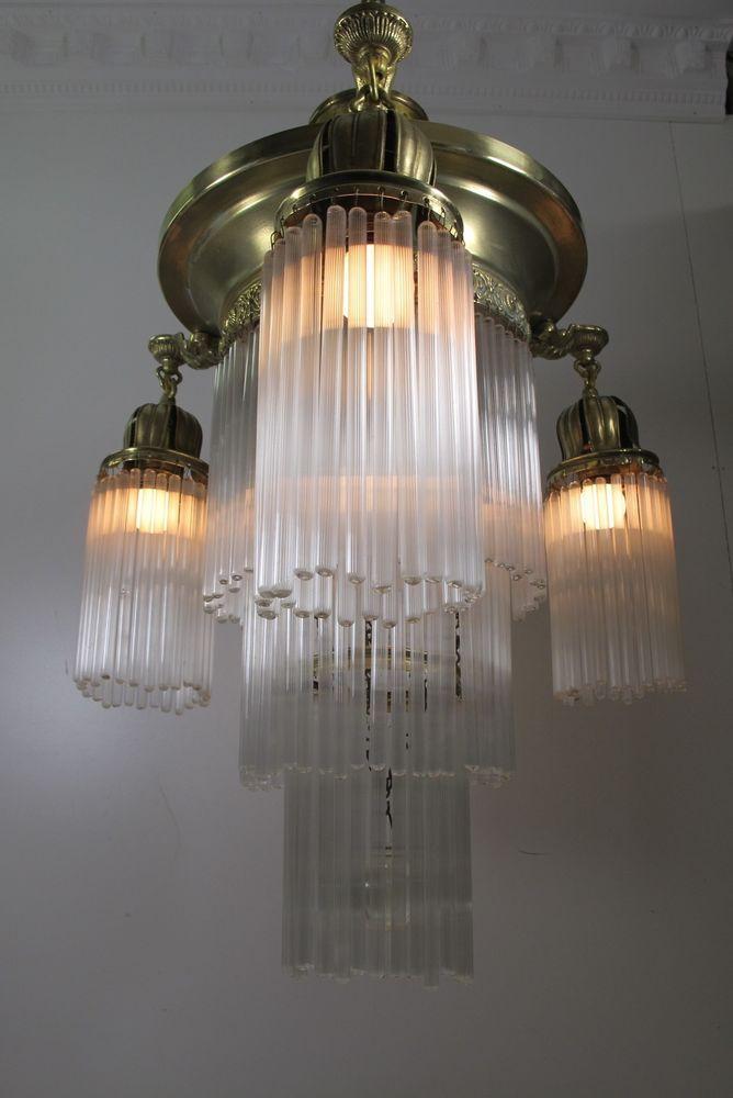 Antique Art Deco Brass Chandelier Tube Glass 4 Lights Ceiling