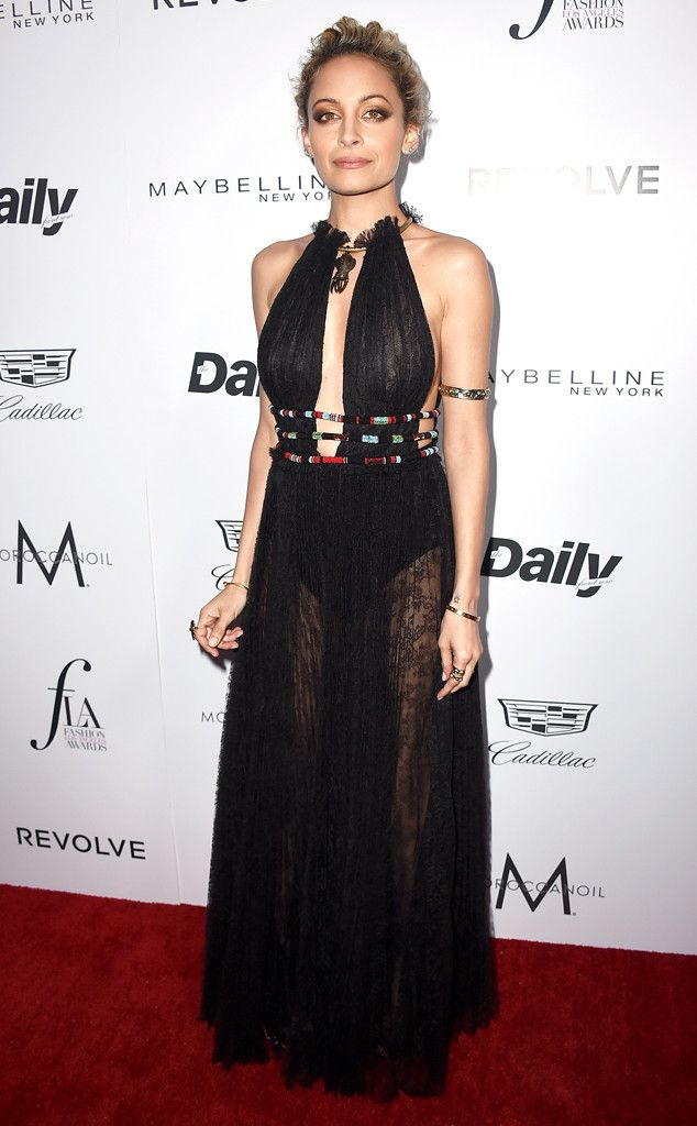 Nicole Richie from Fashion Los Angeles Awards 2016: Best Looks  The fashion and jewelry designer opts for a sheer black dress for her Sunday night out.
