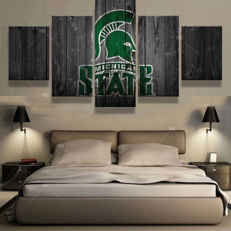 5 Pieces Canvas Painting Wall Art Vintage Michigan State Spartans Sport For Living Room Decor Bear Wall Art Wall Art Canvas Painting Canvas Print Wall