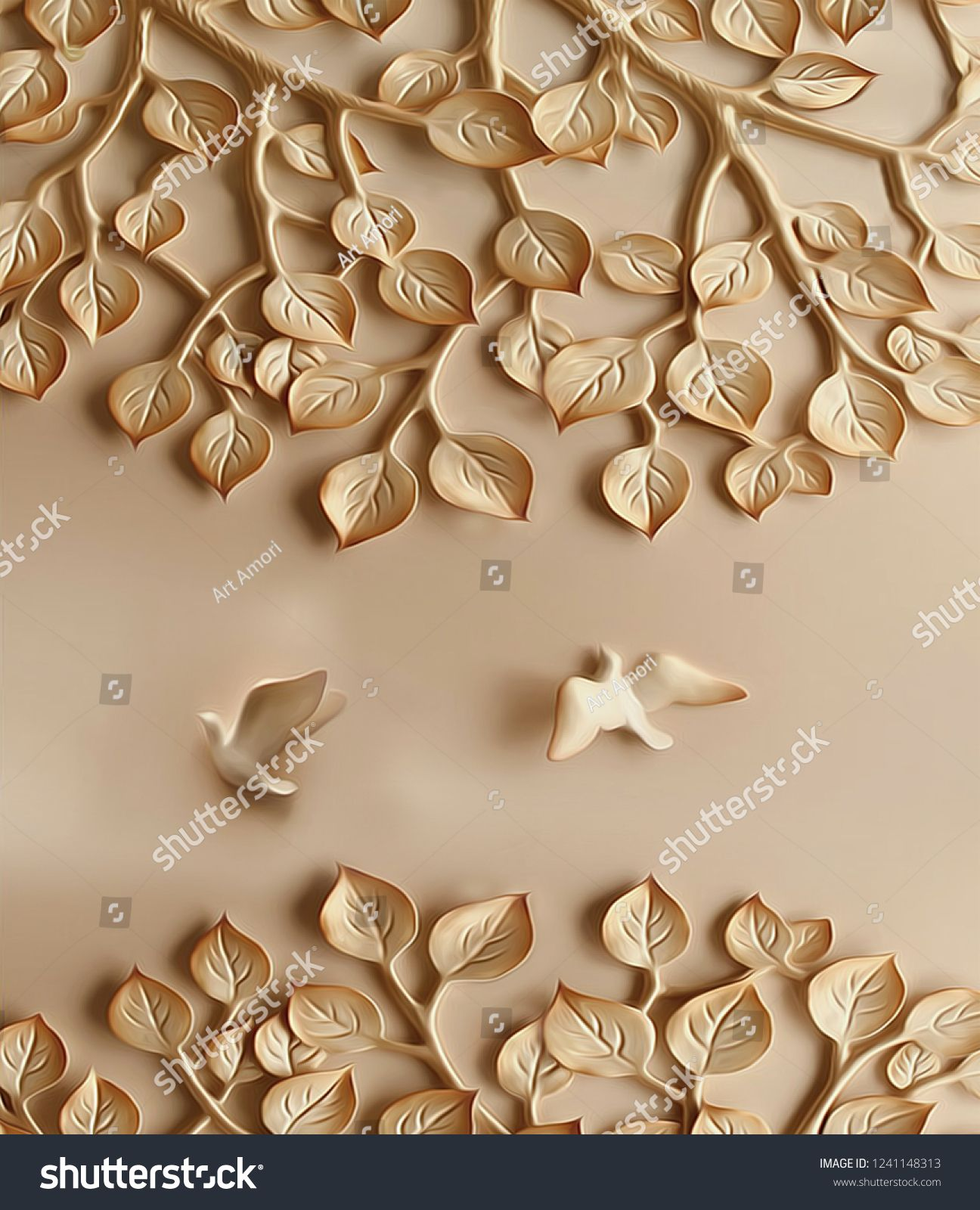 Brown Emboss Tree Leaves And Birds On Plane Background 3d Wallpaper Tree Leaves Brown Emboss 3d Wallpaper 3d Wallpaper Tree Wallpaper