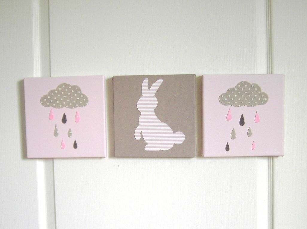 tableau triptyque enfant lapin nuage et gouttes de pluie tableau pour chambre d 39 enfant. Black Bedroom Furniture Sets. Home Design Ideas