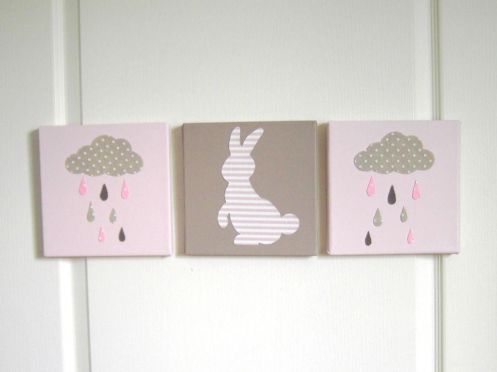 tableau triptyque enfant lapin nuage et gouttes de pluie tableau pour chambre d 39 enfant. Black Bedroom Furniture Sets. Home Design Ideas