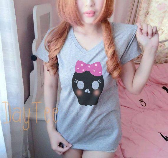 03340ca916479a Cute skull shirt S M L XL short sleeve shirt women tshirts