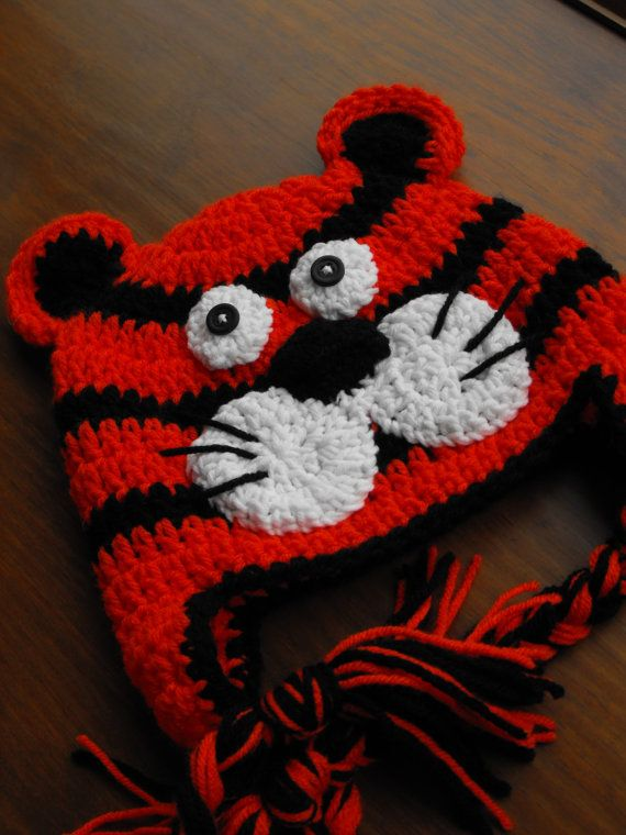 Tiger Animal Earflap Hat   Size 13 years by HotOffTheHookCrochet, $31.00