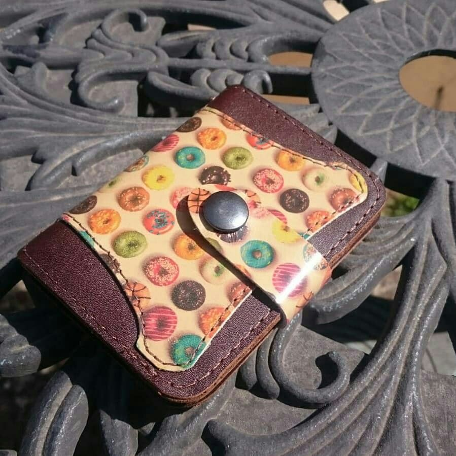 Printed leather donut notepad cover leather notepad