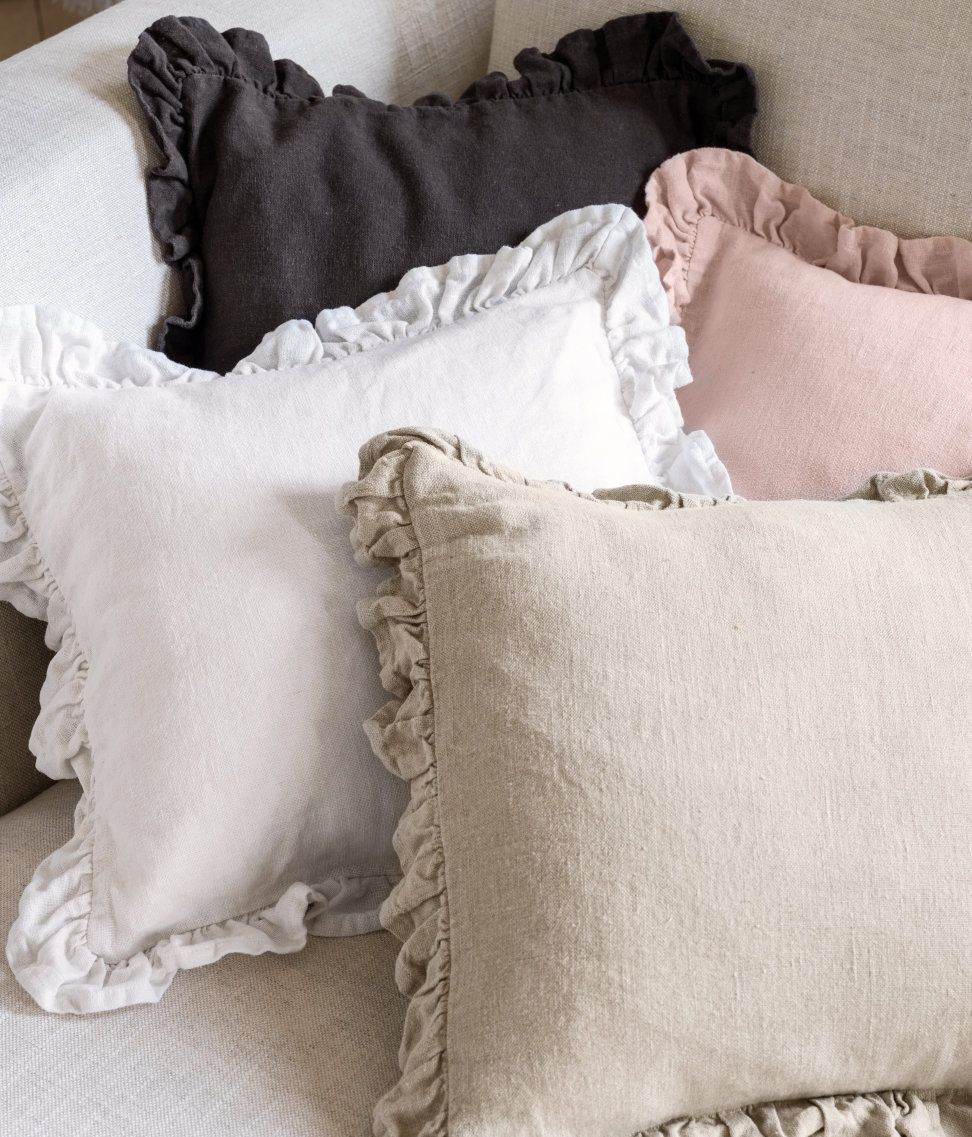 Cushion Cover In Woven Linen Fabric With Ruffle Trim Hmhome H M Home Pillows Linen Cushion