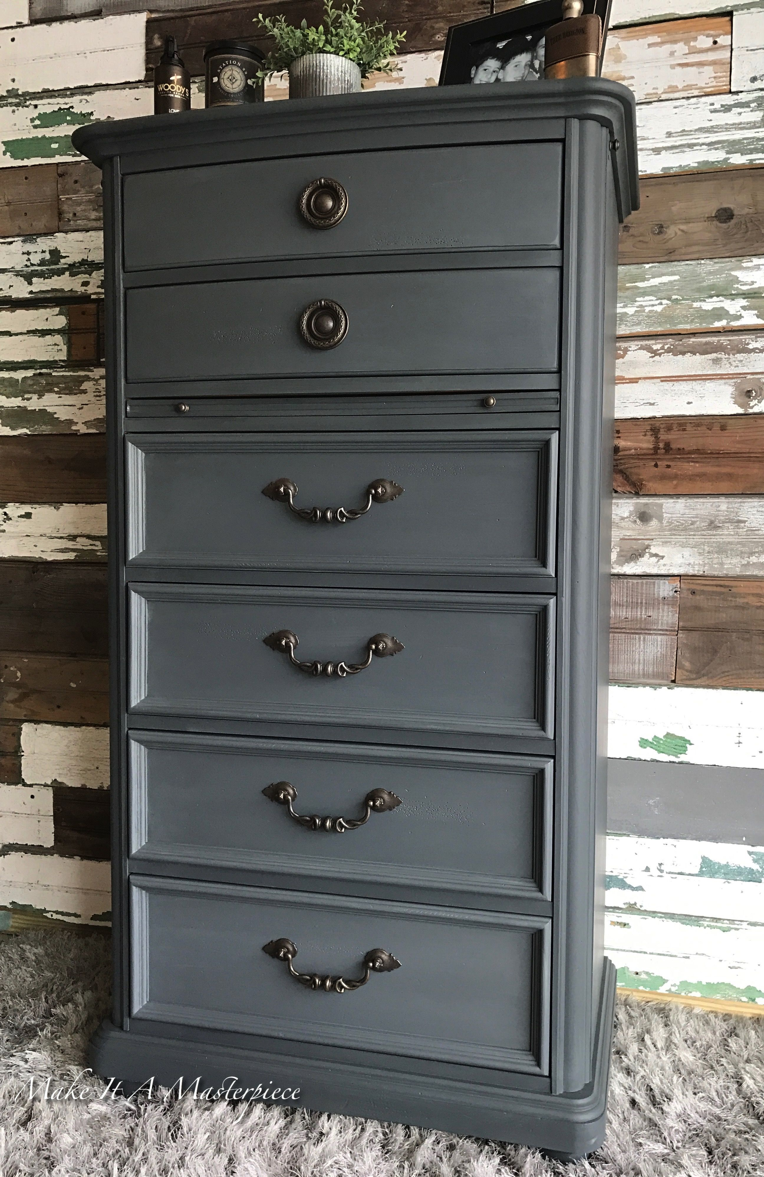 Gf Slate Gray Chalk Paint Gentleman S Chest Painted Furniture Colors Chalk Paint Colors Furniture Colorful Furniture