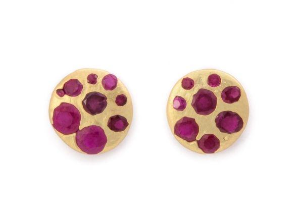 Crystal Disc Studs with Round Rubies (Medium) «  Bespoke Designer Jewellery…