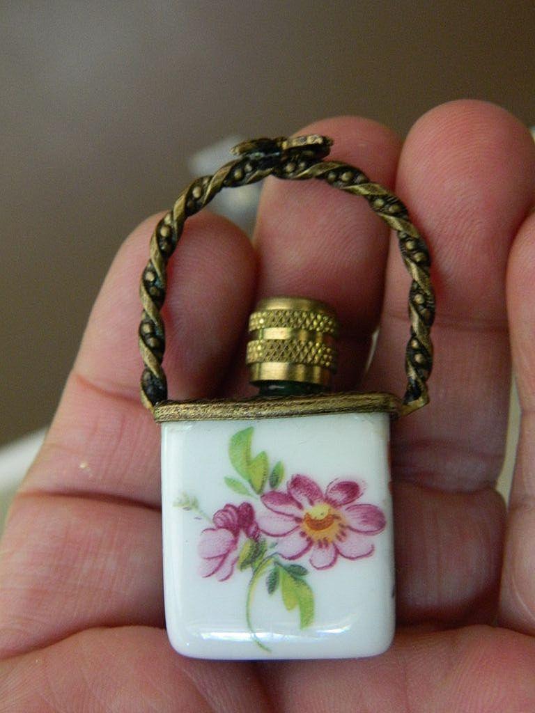 Limoges- Porcelain basket with Perfume bottle- Vintage-France