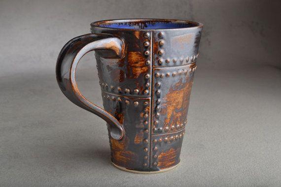Sheet Metal Ready To Ship Rusty Brown Sheet Metal Stoneware Mug by Symmetrical Pottery