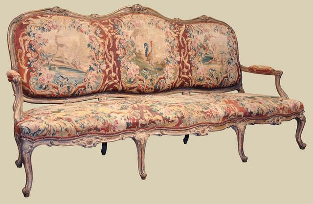 Elegant French Louis XV sofa (canape) with Aubusson Tapestry, c ...