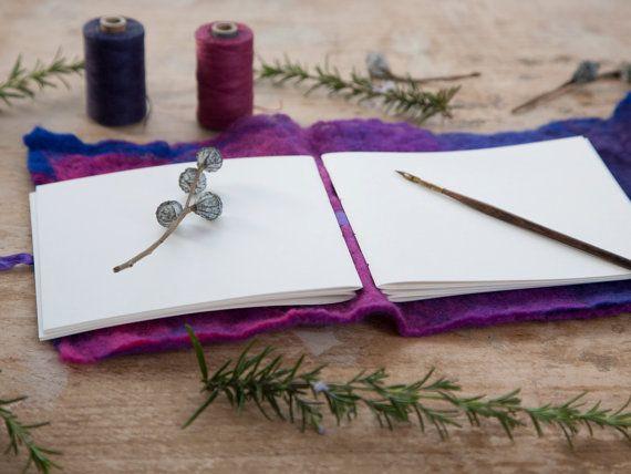 Pink / Purple / Blue Felt Covered Sketchbook / by TheEloiseBindery