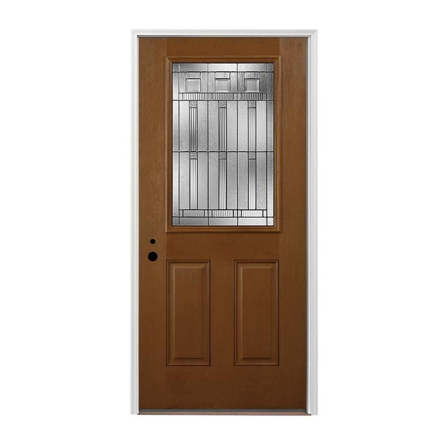 Shop Pella Half Lite Right Hand Inswing Prestained Special Walnut Stained Fiberglass Entry Door With In Fiberglass Entry Doors Entry Doors Special Walnut Stain