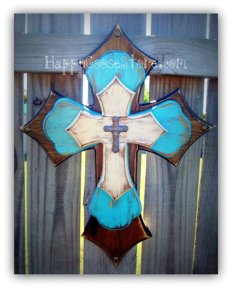 Wall cross wood cross medium brown stain antiqued turquoise