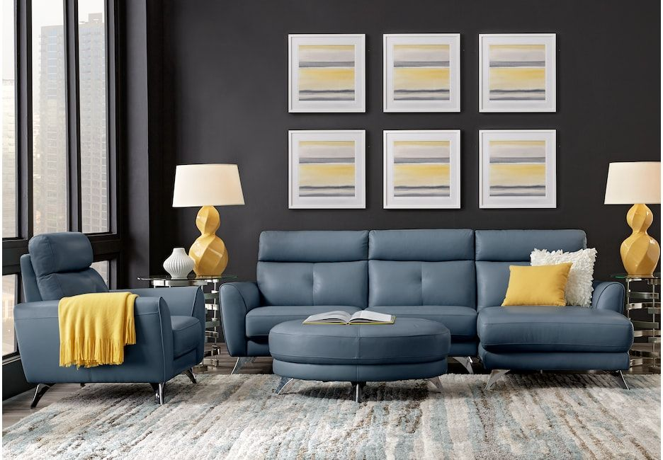 Modena Blue Leather 2 Pc Sectional Leather Living Rooms Blue Living Room Leather Living Room Sets Furniture Leather Living Room Set