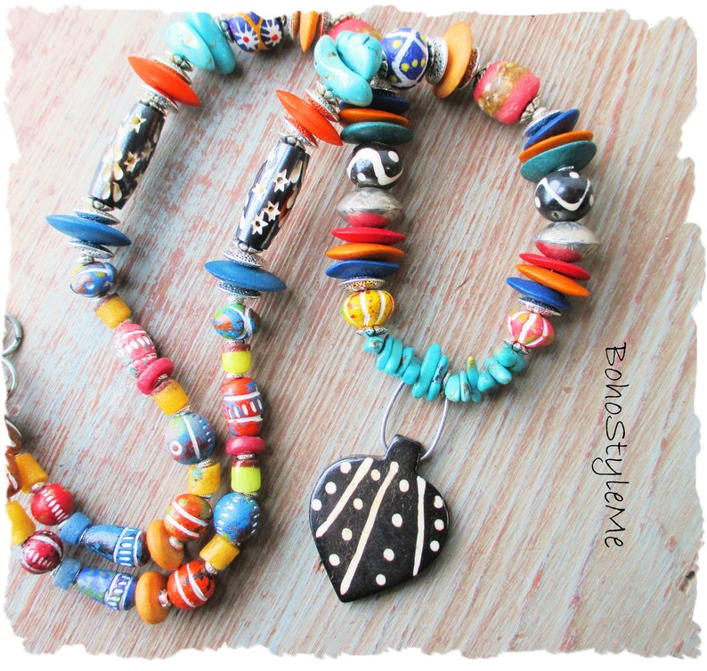 Native Tribal Necklace - Bohemian Necklace - Beaded