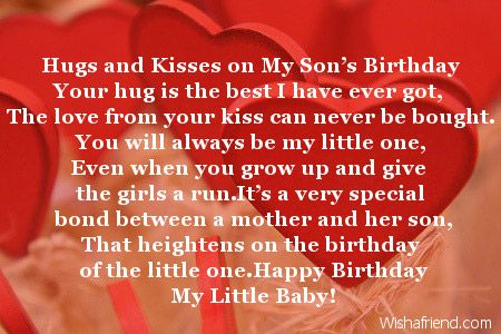 Hugs and Kisses on My Son's Birthday Your hug is the best I