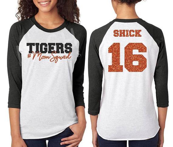 0e750c79fd28 Glitter Mom Squad Raglan tee, mascot mom shirt, mascot #momsquad 3/4 sleeve  raglan, football mom, baseball mom, school pride shirt, tigers mom, ...