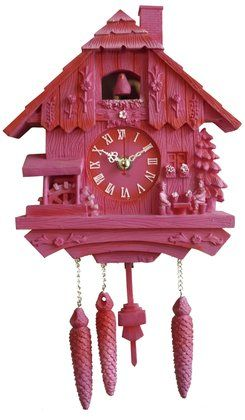 Present Time Silly Wall Clock Cuckoo Polyresin Pink Cuckoo Clock Wall Clock Cuckoo Clock