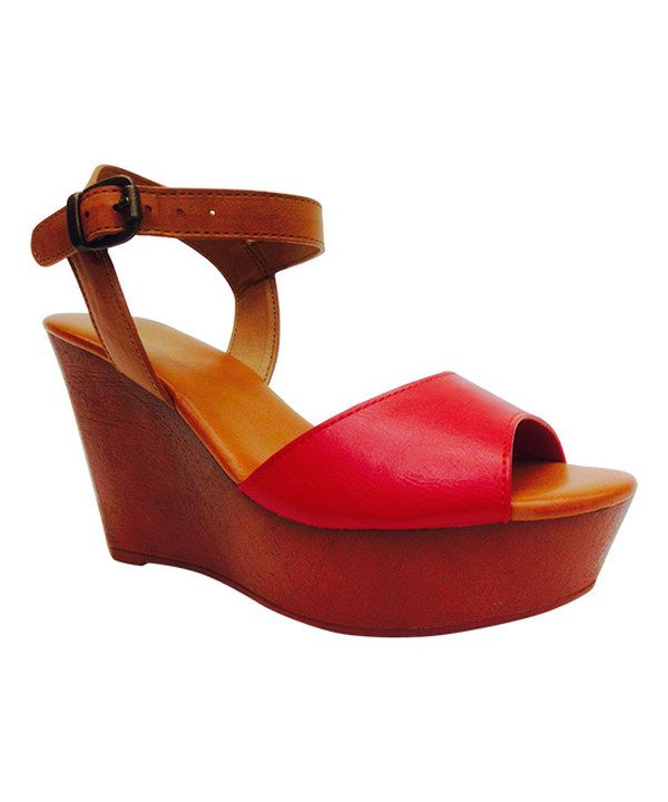 Look at this Red Wedge Sandal on #zulily today!