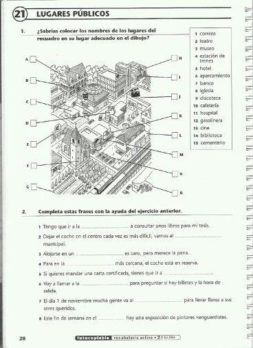 Voc lugares públicos | SPANISH Learning | Spanish worksheets ...