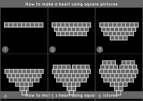 Heart photos on wall