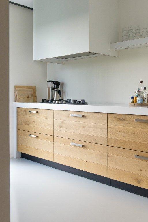 Keuken met wit aanrechtblad google zoeken new kitchen pinterest keukenblad kast en zoeken - Hout en witte keuken ...