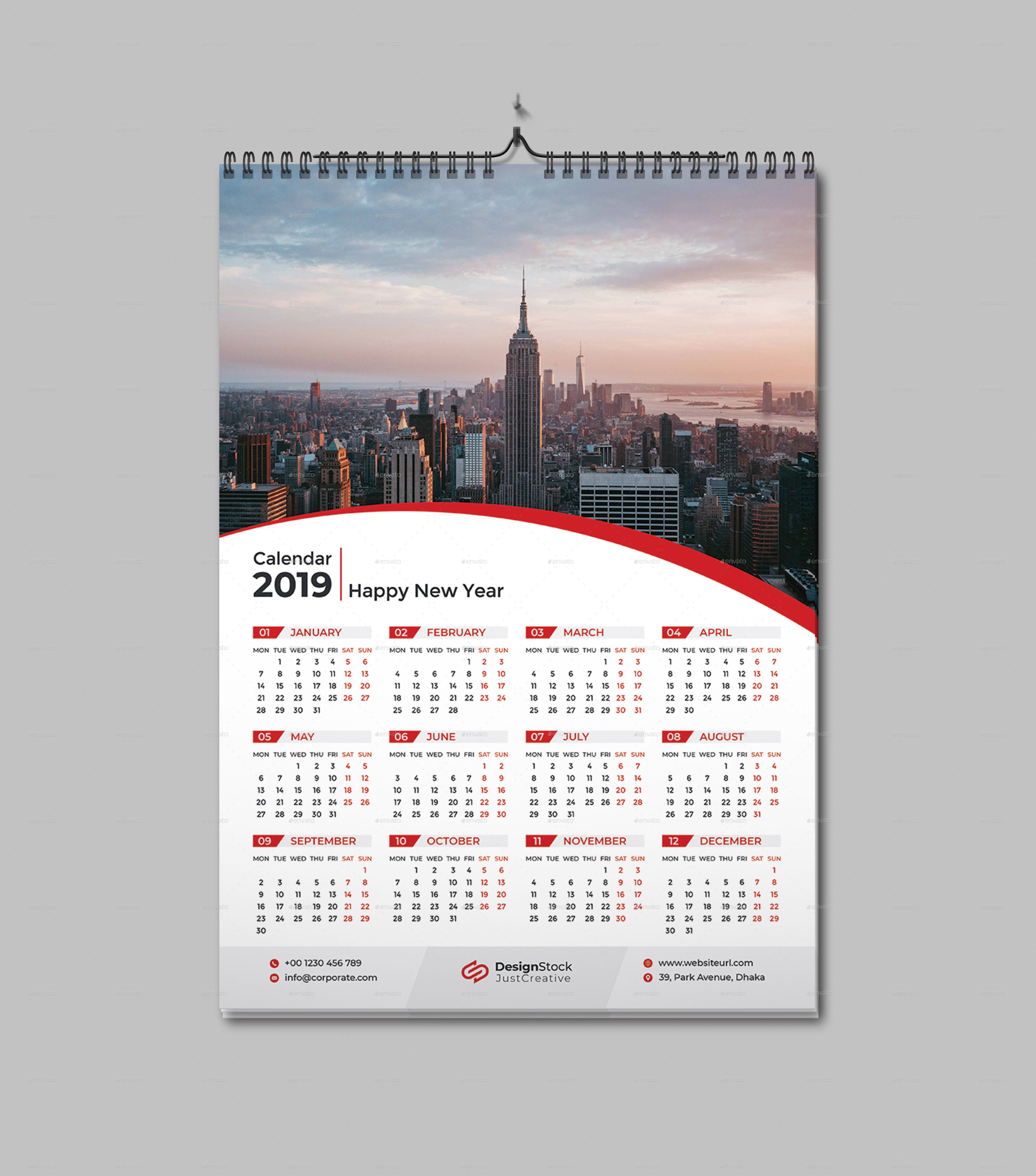 1 Page Wall Calendar 2020 Kalender Desain Ide
