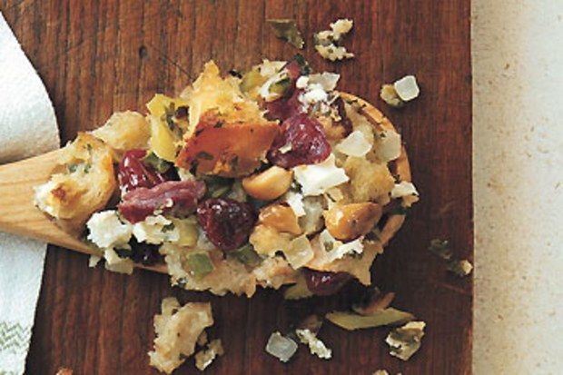 Country Bread Stuffing with Smoked Ham, Goat Cheese, and Dried Cherries