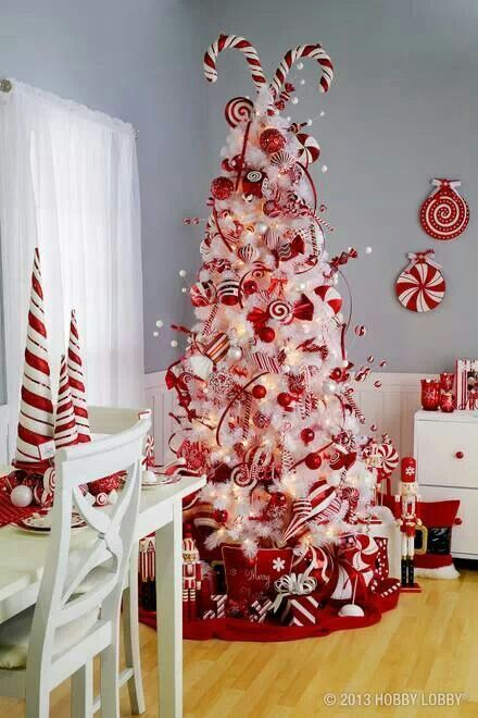 arboles-navidad-ninos-11 Christmas Trees Pinterest Candy canes - white christmas tree decorations