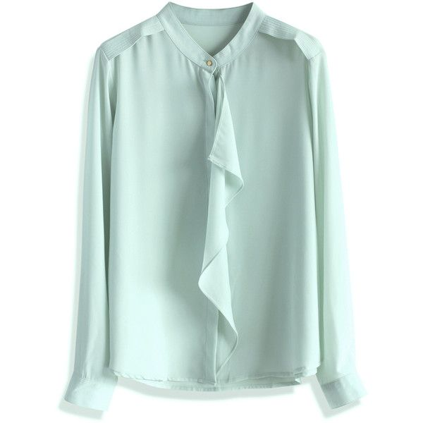 4a44ab13b91e Chicwish Mint Frills Chiffon Top (€33) ❤ liked on Polyvore featuring tops
