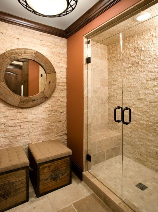 17 Best images about Natural Bathrooms – Stone Tile Bathroom Wall